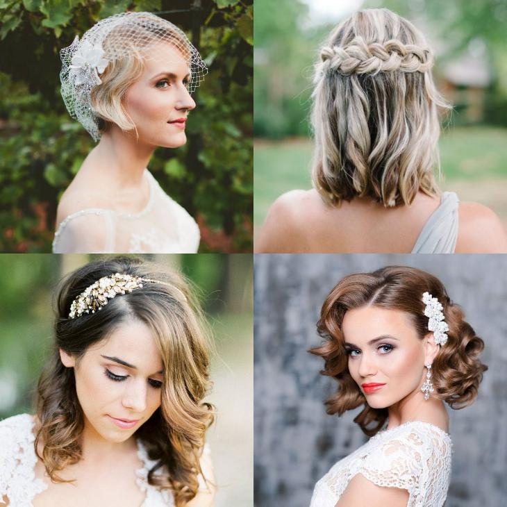 Свадебная прическа короткие волосы 2018